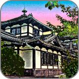 江戸時代の手摺り木版画風