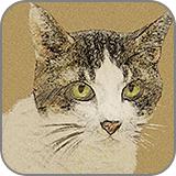クラフト紙に描いたパステル風のペット (fc2)