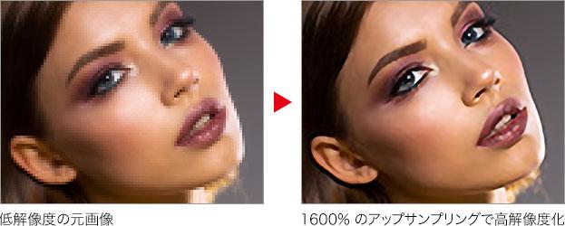 低解像度の元画像 → 1600% のアップサンプリングで高解像度化