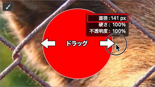 左右のドラッグで [ 直径 ] が変更できる