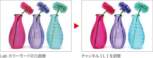 Lab カラーモードの元画像 → チャンネル [L] を調整