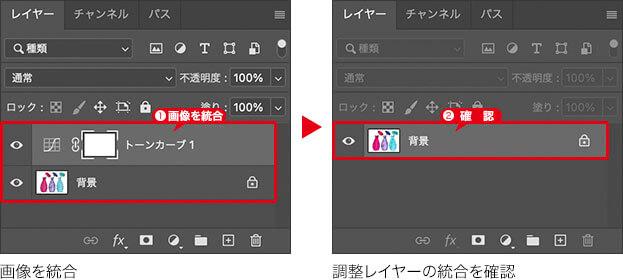 画像を統合 → 調整レイヤーの統合を確認