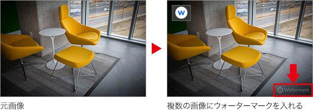 元画像 → 複数の画像にウォーターマークを入れる