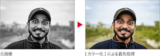 元画像 → [ カラー化 ] による着色処理