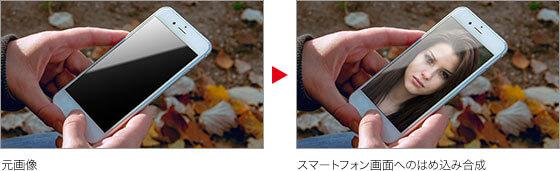 元画像 → スマートフォン画面へのはめ込み合成