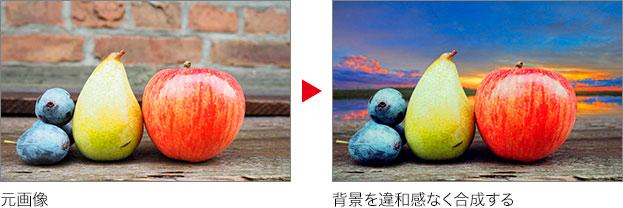 元画像 → 背景を違和感なく合成する