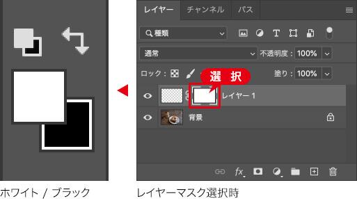 ホワイト / ブラック → レイヤーマスク選択時