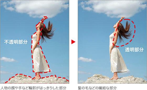 人物の顔や手など輪郭がはっきりした部分 → 髪の毛などの繊細な部分