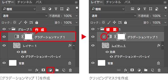 [ グラデーションマップ 1 ] を作成 → クリッピングマスクを作成