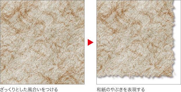 ざっくりとした風合いをつける→和紙のやぶきを表現する