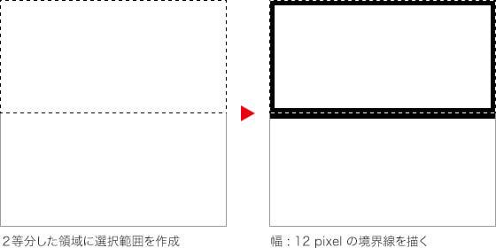 2等分した領域に選択範囲を作成 → 幅 12 pixel の境界線を描く