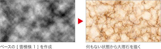 ベースの [ 雲模様 1 ] を生成 → 何もない状態から大理石を描く
