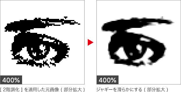 [2階調化]を適用した元画像(部分拡大)→ジャギーを滑らかにする(部分拡大)