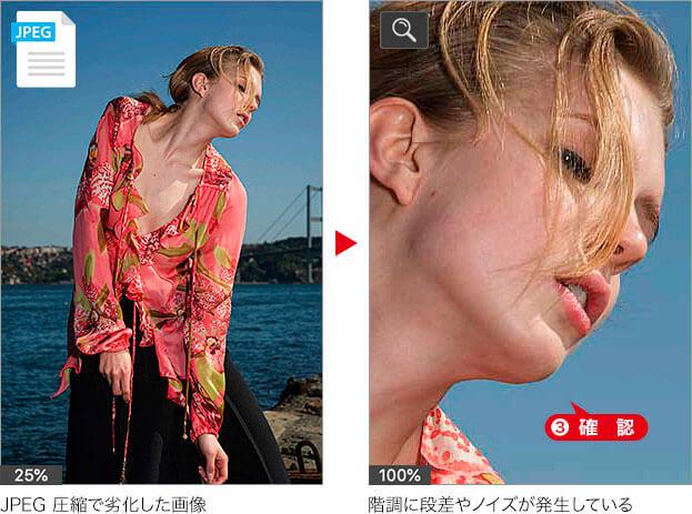 JPEG圧縮で劣化した画像→階調に段差やノイズが発生している