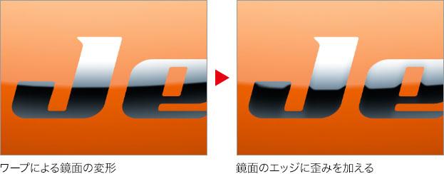 ワープによる変形 → 鏡面のエッジに歪みを加える