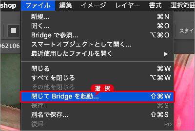[ 閉じて Bridge を起動 ] を選択