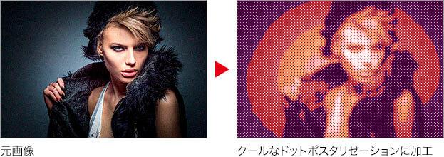 元画像 → クールなドットポスタリゼーションに加工