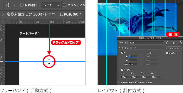 フリーハンド (手動方式) → レイアウト (割付方式)