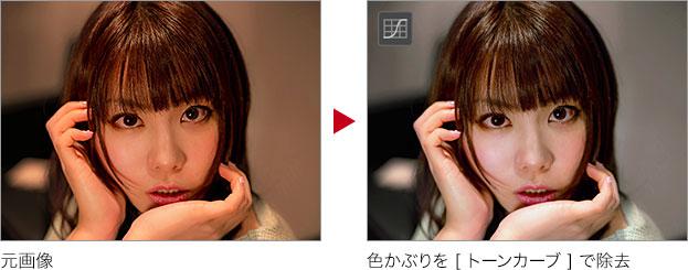 元画像 → 色かぶりを [ トーンカーブ ] で除去