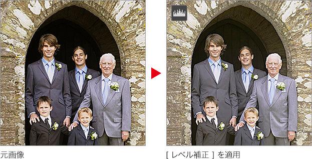元画像 → [ レベル補正 ] を適用
