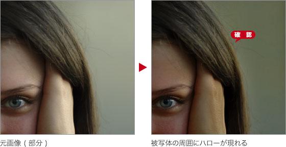 元画像 ( 部分 ) → 被写体の周囲にハローが現れる