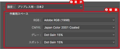 [ 設定 ] に [ プリプレス用 - 日本2 ] を選択