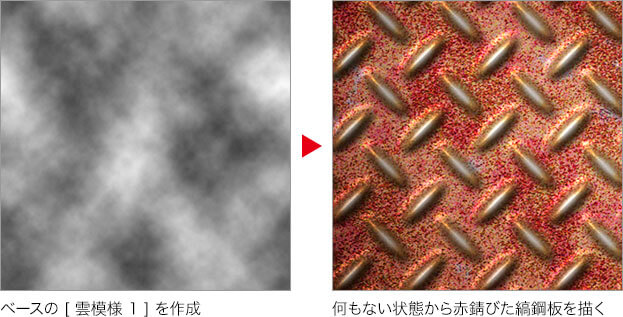 ベースの [ 雲模様 1 ] を作成 → 何もない状態から赤錆びた縞鋼板を描く