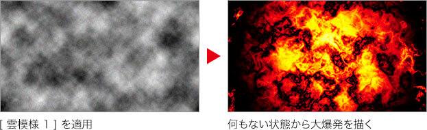 [ 雲模様 1 ] を適用 → 何もない状態から大爆発を描く