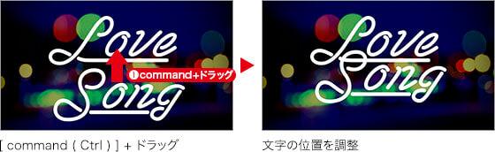 [ command ( Ctrl ) ] + ドラッグ → 文字の位置を調整