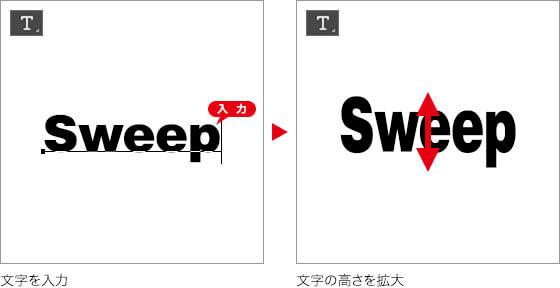 文字を入力 → 文字の高さを拡大