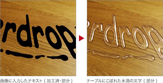 画像に入力したテキスト ( 加工済・部分 ) → テーブルにこぼれた水滴の文字 ( 部分 )