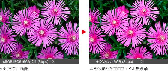 sRGB の元画像 → 埋め込まれたプロファイルを破棄
