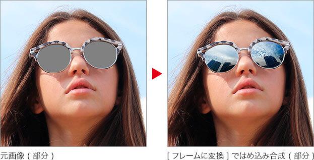 元画像 (部分) → フレームで画像をはめ込み合成する (部分)