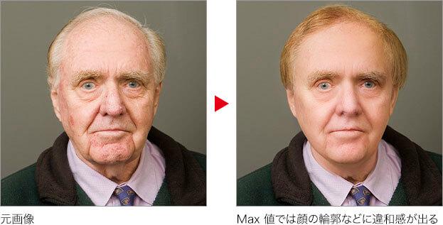 元画像 → Max 値では顔の輪郭などに違和感が出る