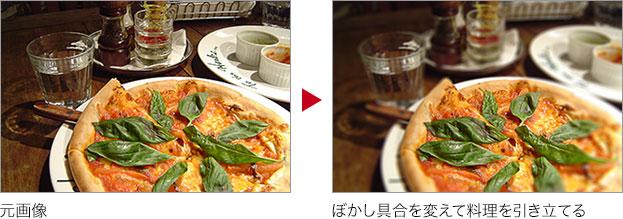 元画像 → ぼかし具合を変えて料理を引き立てる