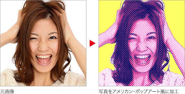 元画像→写真をアメリカン・ポップアート風に加工