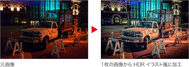 元画像 →1枚の画像から HDR イラスト風に加工
