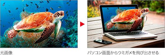 元画像 → パソコン画面からウミガメを飛び出させる
