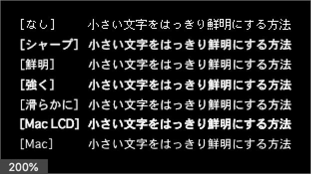 Osaka レギュラー 12 pt の適用結果 (200% 拡大表示)