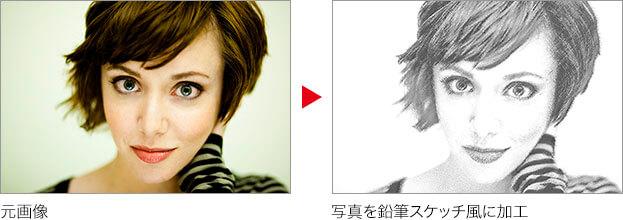 元画像 → 写真を鉛筆スケッチ風に加工