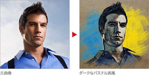 元画像 → ダークなパステル画風