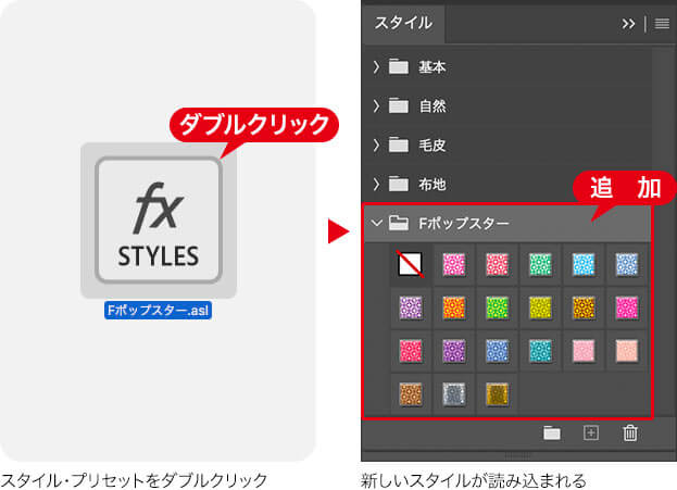 スタイル・プリセットをダブルクリック → 新しいスタイルが読み込まれる