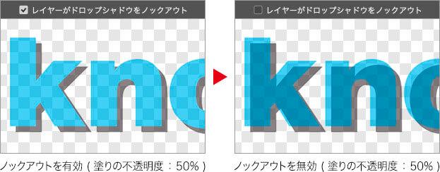 ノックアウトを有効 ( 塗りの不透明度 : 50% ) → ノックアウトを無効 ( 塗りの不透明度 : 50% )